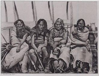 Cheyenne and Arapaho Indian Reservation - Principal Chiefs of the Arapaho Tribe, engraving by James D. Hutton, ca. 1860. Arapaho interpreter Warshinun, also known as Friday, is seated at right.