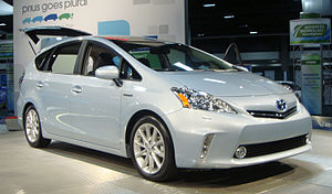 English: Toyota Prius V hybrid electric car ex...
