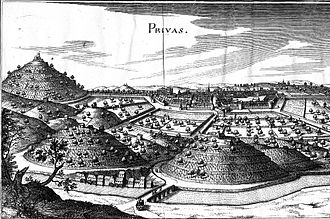 Siege of Privas - Privas circa 1620, by Matthaeus Merian.