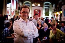 photo of Chris French in 2011 at a Skeptics in the Pub event held by the Merseyside Skeptics Society