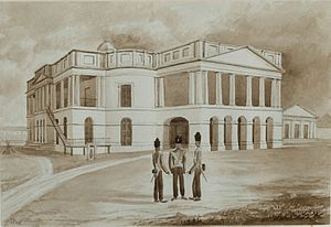 Old Parliament House, Singapore - The original building in 1846, then known as the Public Offices of the Settlement, in sketch by John Turnbull Thomson. Coleman's original building had been changed considerably since.