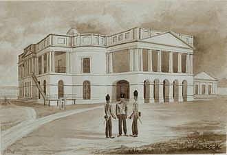 George Drumgoole Coleman - Parliament House in 1846, then known as the Public Offices of the Settlement. The building has undergone considerable changes since and not much of Coleman's original design remains.