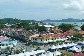 Langkawi - A view of Kuah town, the commercial centre of Langkawi Island
