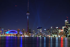 The Pulsefront light show seen from Toronto Is...