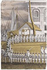 Cadets Lined up in front of the Het Zeerecht Building in Amsterdam