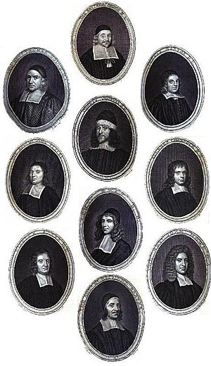 Puritans - Gallery of famous 17th-century Puritan theologians: Thomas Gouge, William Bridge, Thomas Manton, John Flavel, Richard Sibbes, Stephen Charnock, William Bates, John Owen, John Howe and Richard Baxter