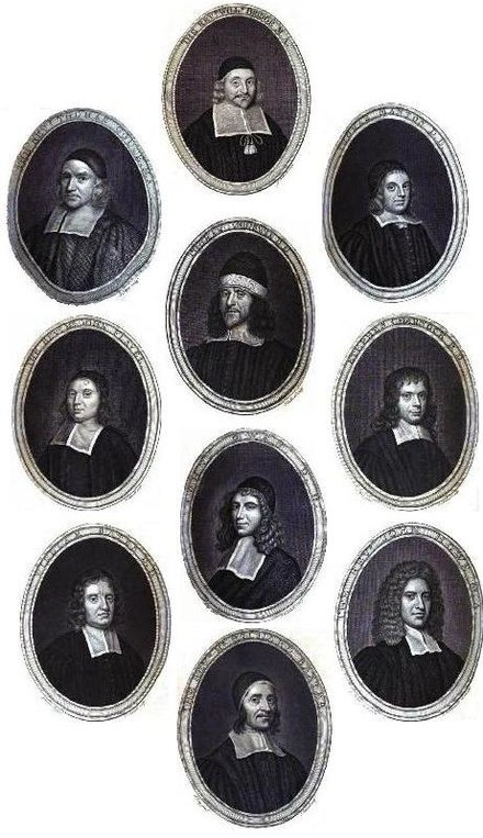 Gallery of famous 17th-century Puritan theologians: Thomas Gouge, William Bridge, Thomas Manton, John Flavel, Richard Sibbes, Stephen Charnock, William Bates, John Owen, John Howe and Richard Baxter PuritanGallery.jpg
