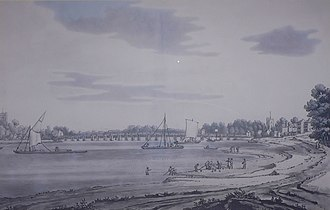 Putney Bridge - Putney Bridge, 1793, by J. Farington, a squared-rigged 'West Country' barge, fishermen netting for salmon and erosion of the riverbank.