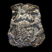 Pyxis lid featuring a goddess feeding goats AO 11601