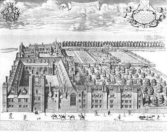 Queens' College, Cambridge -  Bird's eye view of Queens' College, Cambridge by David Loggan, published in 1690.