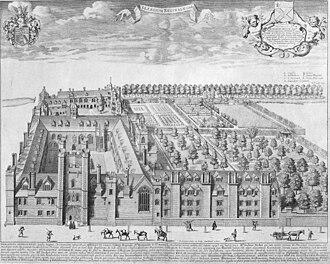 Queens' College, Cambridge - Bird's eye view of Queens' College, Cambridge by David Loggan, published in 1690.