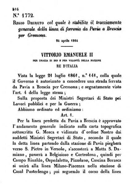 File:R.D. 24 aprile 1864, n. 1772, col quale è stabilito il tracciamento generale della linea di ferrovia da Pavia a Brescia per Cremona.djvu