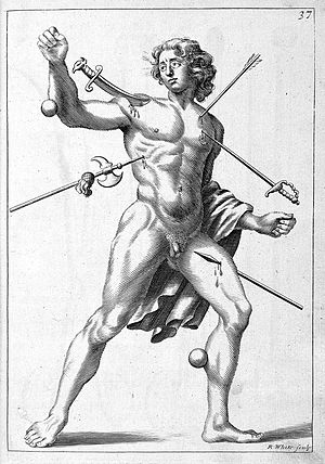 Robert White (engraver) - Image: R. White, 'wound man', 1678. Wellcome L0009988