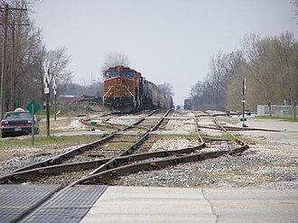 Monon Railroad - BNSF waiting for yard clearance in Monon, Indiana.