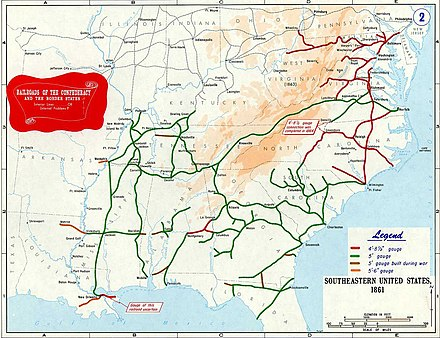5 ft (1,524 mm) gauge rail network in the Southern United States (1861) Railroad of Confederacy-1861.jpg