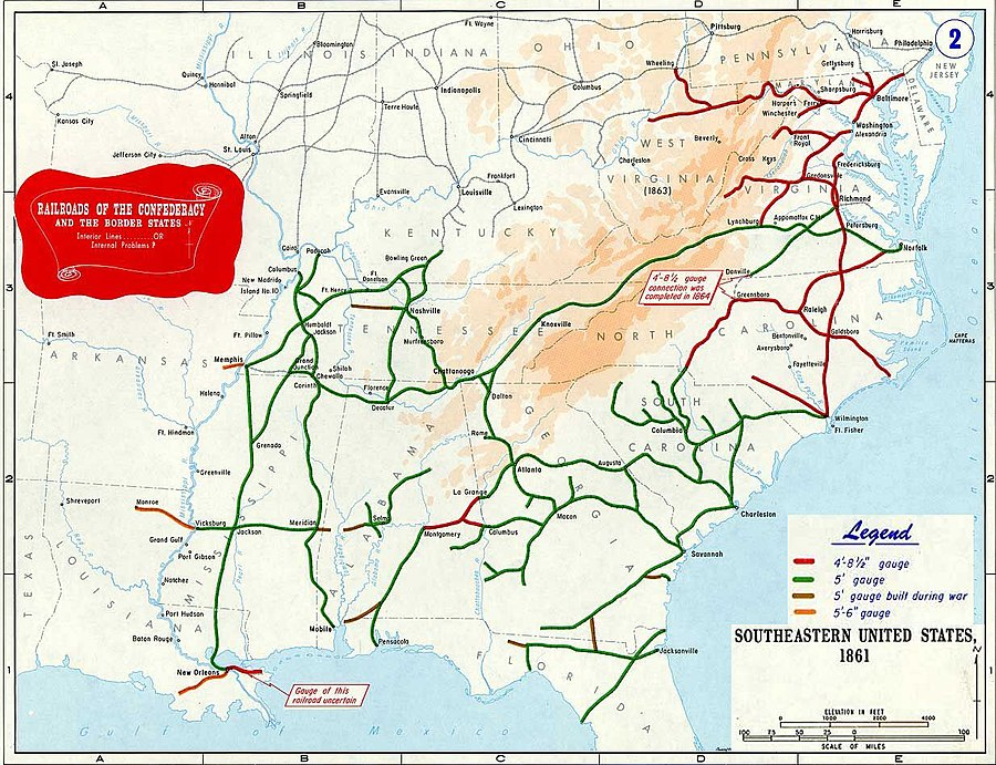 Main railroads of Confederacy, 1861; colors show the different gauges (track width); the top railroad shown in the upper right is the Baltimore and Ohio, which was at all times a Union railroad Railroad of Confederacy-1861.jpg