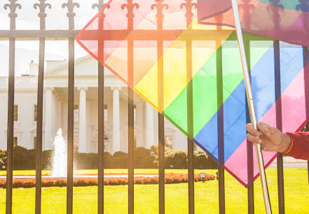 Rainbow Flag White House National Equality March Washington DC 15675030330.jpg