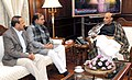 Rajnath Singh discussed the Bengaluru blast situation with the Union Minister for Law & Justice, Shri D.V. Sadananda Gowda and Union Minister for Chemicals and Fertilizers, Shri Ananthkumar, in New Delhi on December 29, 2014.jpg
