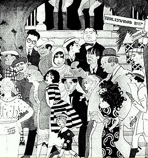 This 1921 Vanity Fair caricature by Ralph Barton shows the famous people who, he imagined, left work each day in Hollywood; use cursor to identify individual figures.