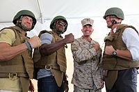 Randy Couture - Terry Crews- Vincent A Coglianese - Dolph Lundgren (Marine Corps Base Camp Pendleton for the premiere of The Expendables 2).jpg