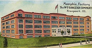 William Thomas Rawleigh - Postcard of the Rawleigh manufacturing building in Memphis, Tennessee.