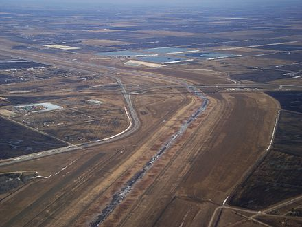 Aerial view of the Red River Floodway Red River Floodway from the air.JPG
