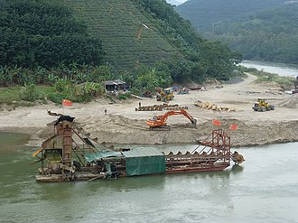 Sand mining - A sand mining operation in the Red River, in Jinping County, Yunnan