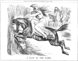 Reform Act 1867 - A Punch cartoon from August 1867 portraying the bill as a leap in the dark