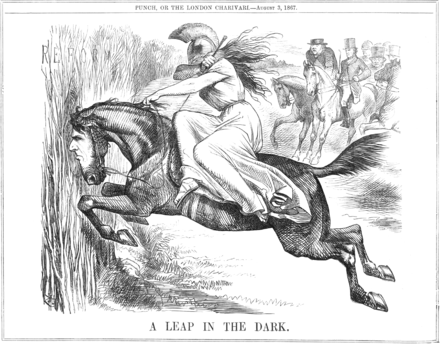 A Punch cartoon from August 1867 portraying Disraeli as a horse, taking Britannia on a leap in the dark Reform bill1867punchJohn Tenniel into the dark125.png