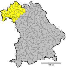 Karte Oberfranken Unterfranken Mittelfranken.Unterfranken Wikipedia