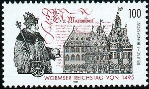 Diet of Worms (1495) - Diet of Worms, 1495   (1995 German postage stamp)