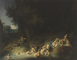 Diana Bathing with her Nymphs with Actaeon and Callisto - Image: Rembrandt, Harmenszoon van Rijn Diana mit Aktäon und Kallisto c.1634 1635