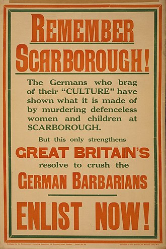 Raid on Scarborough, Hartlepool and Whitby - A recruitment poster.