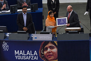 Malala Yousafzai getting the Sakharov Prize for Freedom of Thought, 20 November 2013
