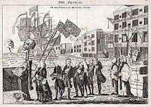 A procession of men, depicting various members of the British Parliament at the time, accompany then-Prime Minister Grenville as he carries a small coffin representing the Stamp Act near a waterfront scene with a sailing ship, cranes, bales of goods, and wharf warehouses in the background