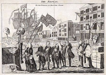 A 1766 political cartoon on the repeal of the Stamp Act Repeal of the Stamp Act.jpg