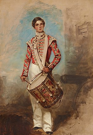 Drummer (military) - Battle of Balaclava Drummer Boy, an 1854 painting by English artist Richard Buckner