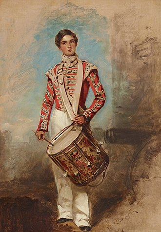 Drummer (military) - Battle of Balaclava Drummer Boy, an 1854 painting by English artist Richard Buckner
