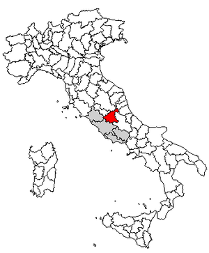 Falacrine - Location of the province of Rieti
