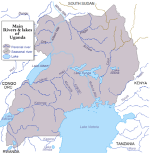 Water supply and sanitation in Uganda - Rivers and lakes of Uganda.