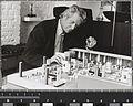 Robin Day with model of John Lewis Oxford Street restaurant, c1973.jpg