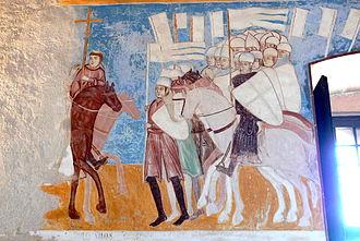 Battle of Desio - Archbishop Ottone Visconti leading his troops into the battle