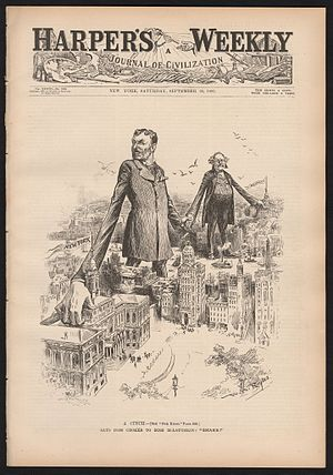 "Richard Croker - A Cinch. Says Boss Croker to Boss McLaughlin: ""Shake!"" (Harper's Magazine, 1893)"