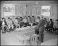 Rohwer Relocation Center, McGehee, Arkansas. D. L. Cook. Senior Physics Class in Barracks 11-F at . . . - NARA - 538981.tif