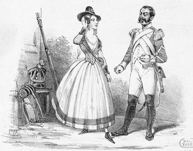 Henri as Sulpice (1840) and Juliette Borghèse as Marie in Donizetti's La fille du régiment Roles de Melle Borghèse et Henri dans la Fille du Régiment (Chronique des Theâtres, 1840 - Gallica (adjusted)).jpg
