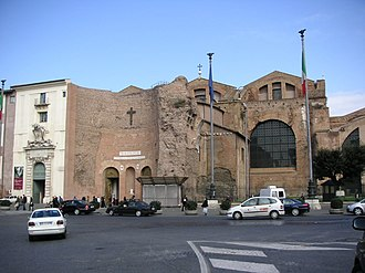 Santa Maria degli Angeli e dei Martiri - The church facade is the frigidarium of the Baths of Diocletian