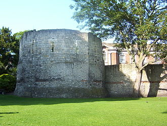York - Roman wall and the west corner tower of Eboracum. The top half is medieval.