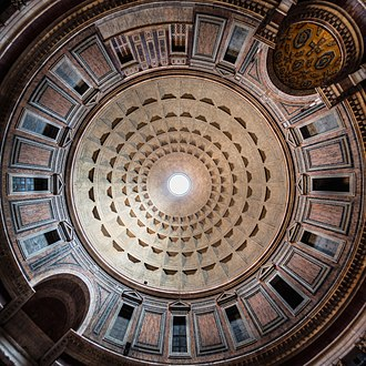 Pantheon, Rome - The Pantheon dome. The coffered dome has a central oculus as the main source of natural light.