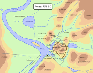 Roma quadrata - Rome in 753 BC: Hypothetical location of Roma Quadrata (black line).