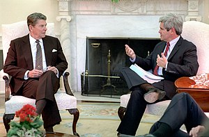 President Ronald Reagan meets with Congressman...